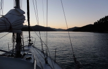 Sunset arrival into Tory Channel