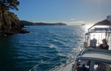 Coming through Man of War passage to enter Fitzroy Harbour on Great Barrier Island.