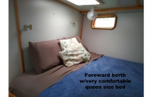 Very comfortable forward berth - queen size.
