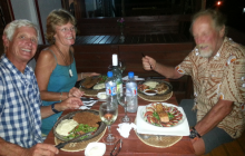 Enjoying yummy food with Paula & John