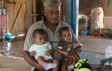 Chief Lepani and two of his grandchildren.