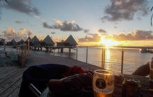 Sunset at Ilot Maitre resort