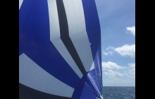 Torn spinnaker! Fortunately it lasted us until Darwin where I'll get my needle and thread out