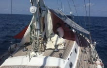 2 days spent repairing our close-to-death Genoa in the blazing sun