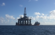 Had to go around an oil rig outside the port