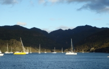 Mt Hobson, the highest peak on the island, to the right. With beautiful Sel Citron in the foreground.