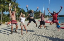 Oh what a feeling! Celebrating our 3rd place in the Coconut Olympics.