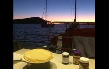 Pancake dinner at sunset